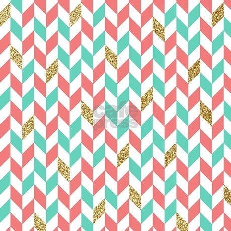 Mint Coral Gold Chevron Zig Zag Scatter Area Rug. Mint Coral Gold Chevron  Zig Zag Scatter Area Rug