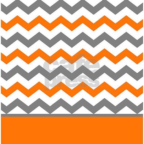 Curtains Ideas chevron stripe shower curtain : Orange Gray Chevron Stripe Shower Curtain by printcreekstudio