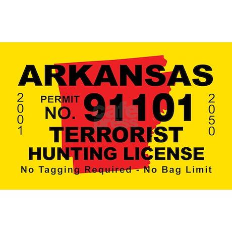 Arkansa terrorist hunting license decal by cafestickers for Arkansas fishing license