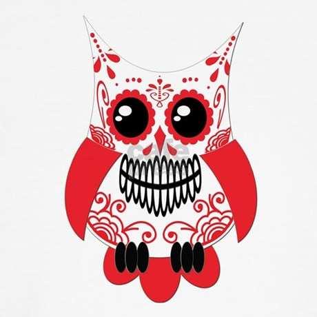 Red White Sugar Skull Owl Boxer Shorts by ...