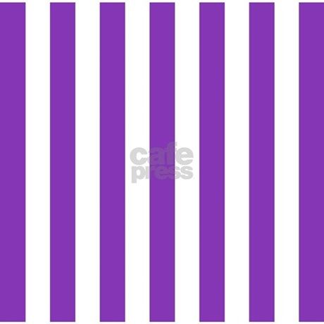 Purple and white striped shower curtain