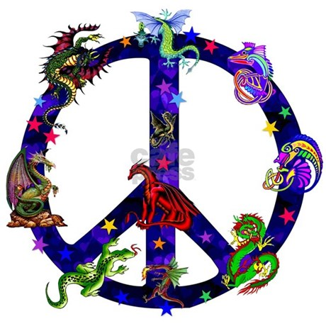 Dragon Peace Sign Shower Curtain. Dragon Peace Sign Shower Curtain