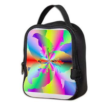 Fractal Fire Flower Neoprene Lunch Bag
