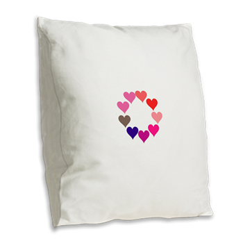 Circle of Rainbow Hearts Burlap Throw Pillow