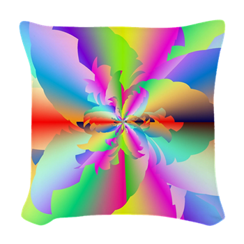 Fractal Fire Flower Woven Throw Pillow