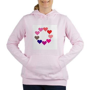 Circle of Rainbow Hearts Women's Hooded Sweatshirt