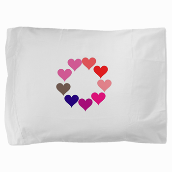 Circle of Rainbow Hearts Pillow Sham