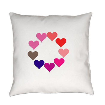 Circle of Rainbow Hearts Everyday Pillow