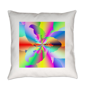 Fractal Fire Flower Everyday Pillow