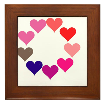 Circle of Rainbow Hearts Framed Tile