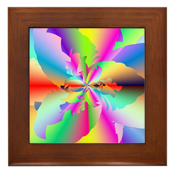 Fractal Fire Flower Framed Tile