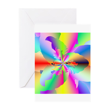 Fractal Fire Flower Greeting Cards