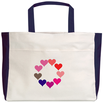 Circle of Rainbow Hearts Beach Tote