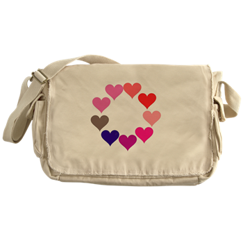 Circle of Rainbow Hearts Messenger Bag