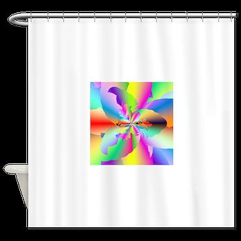 Fractal Fire Flower Shower Curtain
