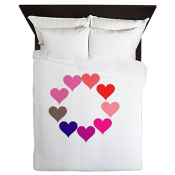 Circle of Rainbow Hearts Queen Duvet