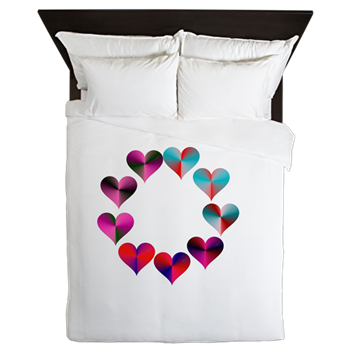 Circle of Iridescent Hearts Queen Duvet