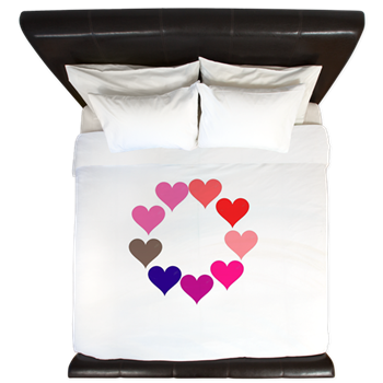 Circle of Rainbow Hearts King Duvet