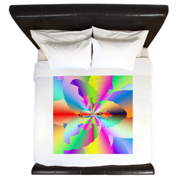 Fractal Fire Flower King Duvet