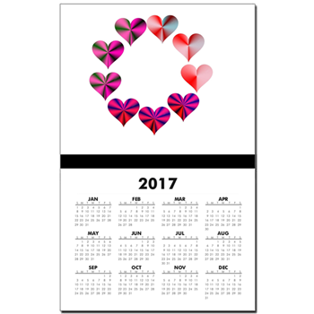 Circle of Crystal Pink Hearts Calendar Print
