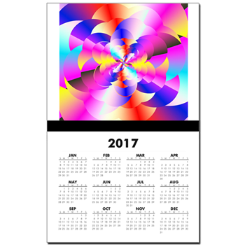 Digitized Fractal Rainbow Calendar Print
