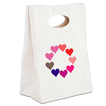Circle of Rainbow Hearts Canvas Lunch Tote