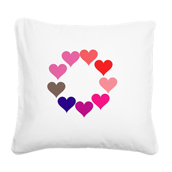 Circle of Rainbow Hearts Square Canvas Pillow