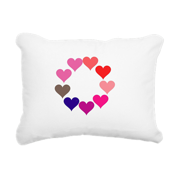 Circle of Rainbow Hearts Rectangular Canvas Pillow