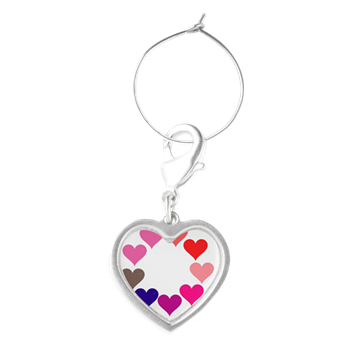 Circle of Rainbow Hearts Wine Charms