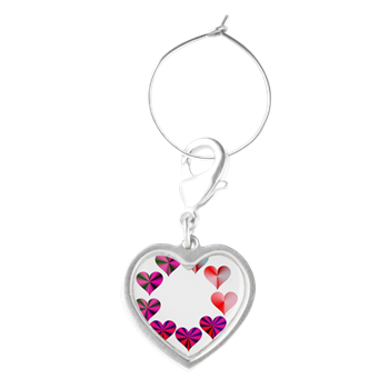 Circle of Crystal Pink Hearts Wine Charms