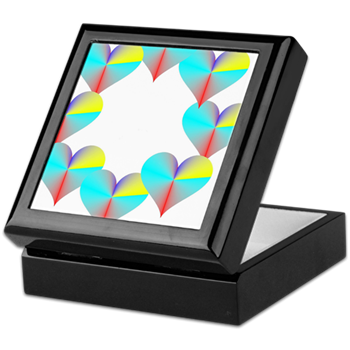 Circle of Rainbow Hearts Keepsake Box