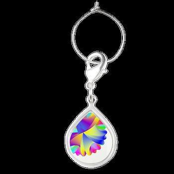Rainbow Cluster Teardrop Wine Charm