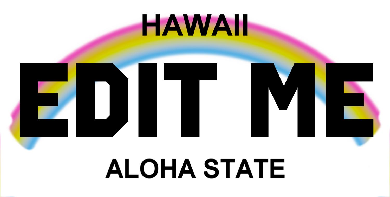hawaii aloha state rainbow license plate replica by werewolfspeedshop