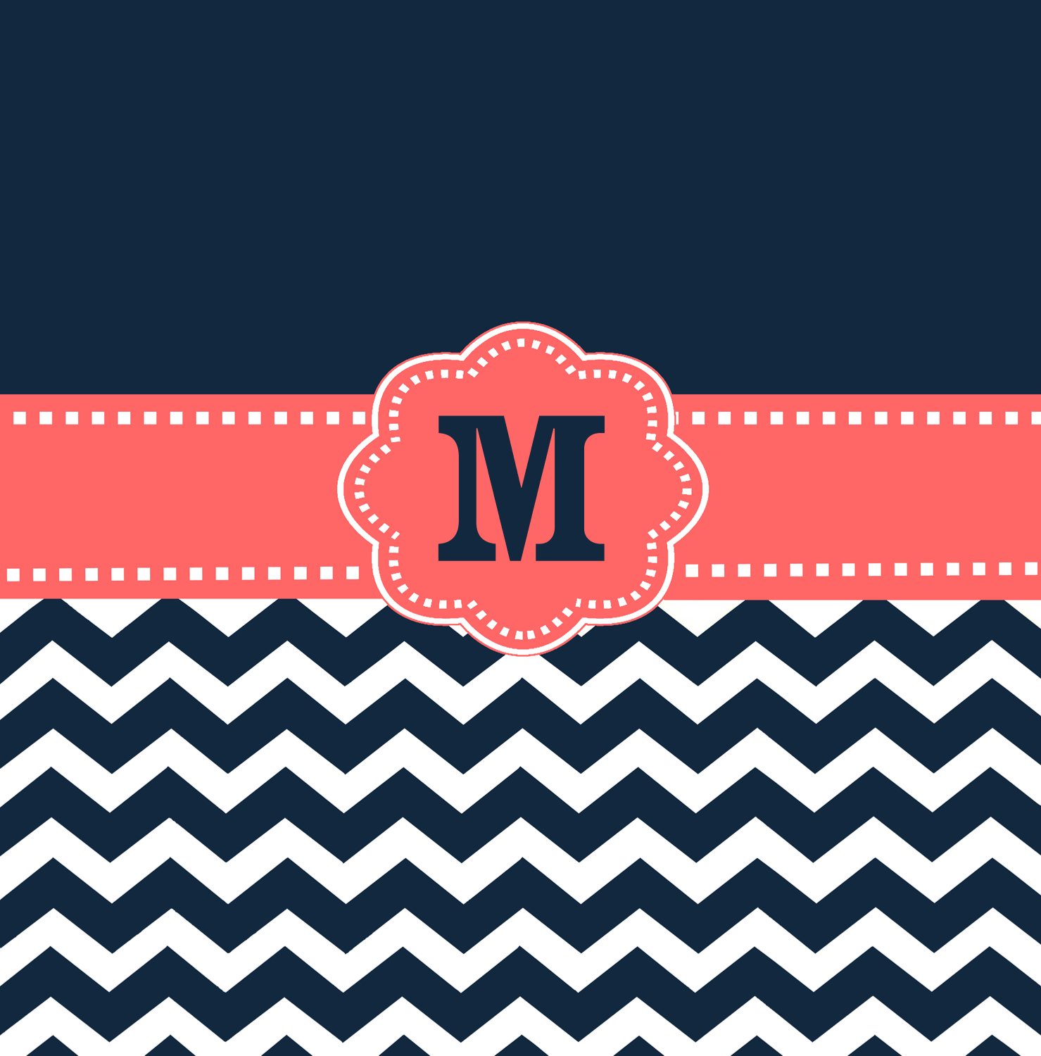 Navy Coral Chevron Monogram Shower Curtain