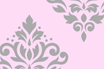 Scroll Damask Grey and Pink