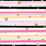 Gold Hearts Pink Stripes