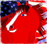 Red Patriotic Horse
