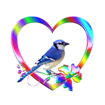 <b>BLUE JAY IN COLORFUL HEART</b>