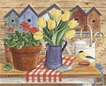 Yellow Tulips and Goldfinch