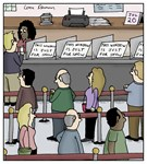Waiting in Line at the Bank Cartoon