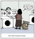 Rosa Parks Doing Her Laundry Civil Rights Cartoon
