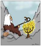 Moses Roasting Hot Dogs Burning Bush Cartoon