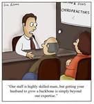 Grow a Backbone Chiropractor Cartoon