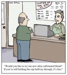 Highly Caffeinated Coffee Cartoon