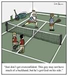God Playing Tennis Cartoon