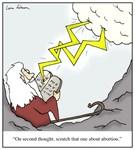 God Revising The Ten Commandments Abortion Cartoon