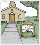 Prayers Monitored Church Sign Cartoon