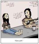 Street Musician Get a Job Cartoon