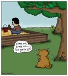Cat Waiting to Use Sandbox Cartoon