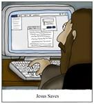 Jesus Saves Command-S Computer Cartoon